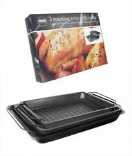 Set of Three Roasting Tins with Racks Carbon Steel with Non-Stick Coating Cheap!