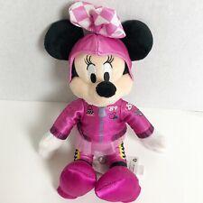 "New listing Minnie Mouse Disney Store Pink Race Car Suit w/ TuTu #89 Plush Doll Stuffed 10"""