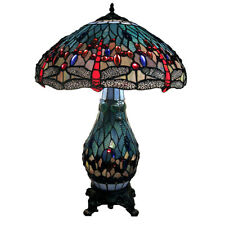Tiffany co art deco table lamps ebay tiffany style blue dragonfly lamp with lighted base 25 high by 18 wide aloadofball Choice Image