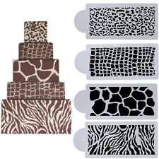 4x Animal Skin Cake Cookie Fondant Side Template Mold Stencil Wedding Decor Tool
