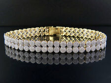 Unisex 10K Yellow Gold Genuine Diamond 8MM Two Row Cluster Bracelet 4 4/5 CT 7""