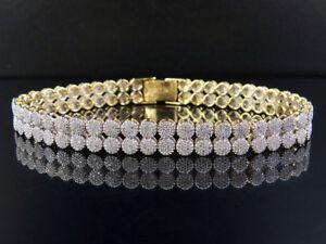 "Unisex 10K Yellow Gold Genuine Diamond 8MM Two Row Cluster Bracelet 4 4/5 CT 7"""