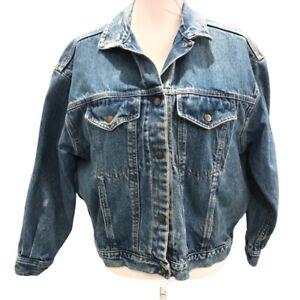 Calvin Klein Womens Denim Trucker Jacket Blue Buttons Pockets Collared Vintage L