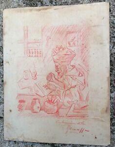 Orientalismus Restposten Eines Zeichnung Antik Titriert L'Strahler Fes Marokko