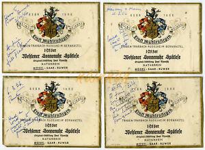 4 no. Vintage Wine Labels -1953-  ERNST MUHLENSIEPEN WEHLENER SONNENHUR SPATLESE