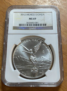 2012 MO SILVER MEXICO 1 ONZAS LIBERTAD WINGED VICTORY COIN NGC MINT STATE 69