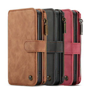 2in1 Removable Leather Zipper Wallet Flip Cover Case for Apple iPhone 12 Pro Max