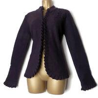 EDINA RONAY Wool Jumper Size 12 M Victorian Ruffle Lagenlook Applique Floral UK