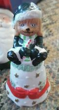 """4"""" tall porcelain hand painted puppy dog elf christmas bell"""
