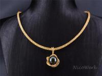 Perlenkette Perfekt Rund 12mm Collier Schwarz Perle Golden Muschelkernperle