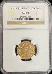 AH 1309 / 1892 A Tunisia 20 Francs Gold Coin NGC AU 58