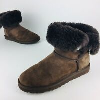 Ugg Australia Chocolate Brown Fold Down Boots Jeweled Bedazzled Womens Sz 7
