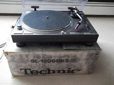 TECHNICS SL-1200 MK2 BLACK WITH CARTRIDGE AND IN ORIGINAL BOX.