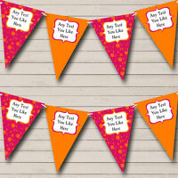 Pink And Orange Personalised Wedding Venue or Reception Bunting Banner Garland