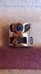 GENUINE PANDORA Silver 925 Ale Blue Zirconia Patterned Charm 790336czb