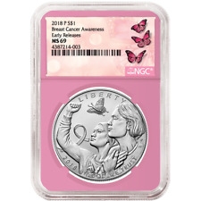 2018-P UNC $1 Breast Cancer Awareness Silver Dollar NGC MS69 ER Label Pink Core