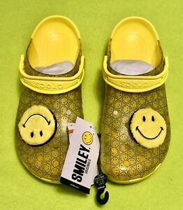 Classic Translucent Smiley Face Yellow Clog Limited Edition Shoes Sandals Happy