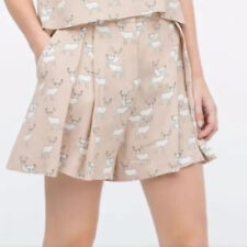 Zara Rosa Tweed Pantaloni Corti Taglia Media Nuovo Con Etichetta