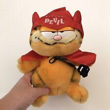 "DAKIN Vintage Garfield Little Devil Plush 9"" 1981 Satan Spatula Cape Horns"