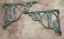 (2) Antiqued-style Mermaid Corbels, Bronze-look Cast Iron 9 inches, B-49a