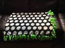 """black Hand tied Volleyball Sport Fleece Blanket green backing 68""""x55"""" 2 layers"""