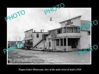 OLD LARGE HISTORIC PHOTO OF PEQUOT LAKES MINNESOTA, THE HOTEL & MIAIN St c1920