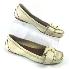 Nine West Lesliea Loafers Driving Moccasin 8 M White Ivory Leather Slip