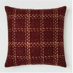 """Threshold Plaid Oversize Square Throw Pillow, 24"""" x 24"""", Berry, Brand New - NWT"""