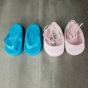 2 Pairs Of Toy Doll Footwear Pink Ballerina Slippers And Blue Sandals 2.75in.