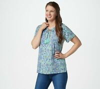 Isaac Mizrahi Live! Knit Engineered Floral Print Peasant Top (Blue, XL) A354777