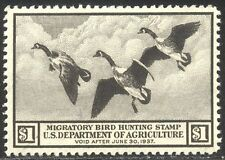 U.S. #RW3 CHOICE Mint VF NH - 1936 $1 Canada Geese