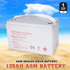 AGM Deep Cycle Battery  135AH Deep Cycle Batteries Dual Fridge Solar Power 12V