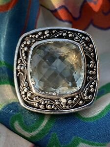 Lois Hill 925 Sterling Filigree Prasiolite Green Amethyst Large Ring So 9 $1195