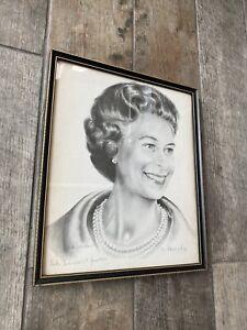 LINDA BIRKINSHAW 1977 Graphite Drawing Print Queen Elizabeth Signed Framed