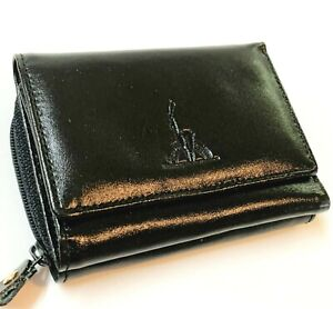 Women's Black Faux  Leather Compact Tri-Fold Wallet with Zippered Purse