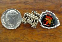 Vintage silver SAN FRANCISCO CALIFORNIA TROLLEY CABLE CAR charm CHARMS LOT
