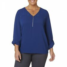 Simply Emma Blue Tunic 2XX Women's Plus Mixed Media Zip Front DipTail Shirt NEW