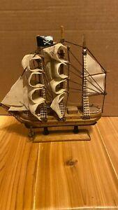 Vintage Wooden Pirate Sail Boat Ship Replica Nautical decor