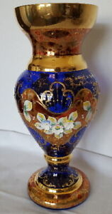 """Antique Jewels"" Cobalt Blue Glass Vase- Czech Republic-FREE SHIPPING"