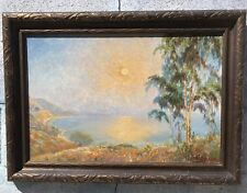 Oil Painting Upstate Ny House Man Working Saw Emma Lampert Cooper 1855-1920