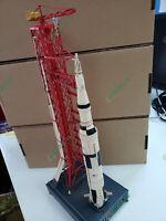 Nasa Apollo USA Flying to Moon Tin Saturn V Rocket & Launch Pad Tinplate Model