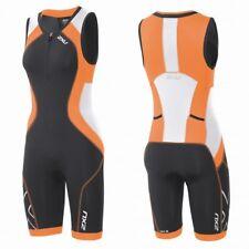 New 2XU Women Compression Trisuit Triathlon Race Tri Suit Ink Orange Medium