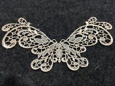 1pc Creamy Butterfly Venise Lace Embroidery Applique Motif Tutu Costume 13*7cm