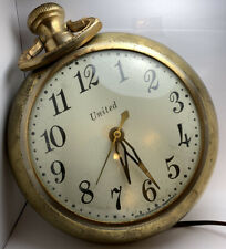 VTG Large United Clock Corp Electric Pocket Watch Wall Clock Model 370 TESTED