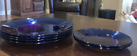 """Vintage Cobalt Blue Glass Plates - 4 Four 10 1/4"""" And 2 Two 7 1/4"""""""