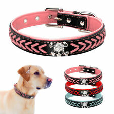 Cool Skull Studded Braided Leather Dog Collars for Medium Large Dogs Pitbull S-L