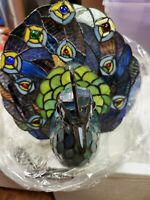 NEW IN BOX PEACOCK TIFFANY Style Lamp Colored Stained Glass Light bird night!!