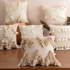 Modern Moroccan Nordic Boho Tassel Neutral Colour Cushion Macrame Cover Case