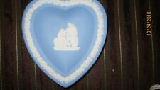 Vintage Wedgwood Blue and White Jasperware Heart Shaped Tray