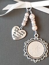 """A Wedding Bouquet Charm Round Silver Pendant with """"always in my heart"""" charm"""